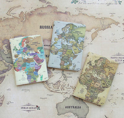 Indimap World Map Passport Case Boarding Ticket Cover Card Holder Travel Wallet