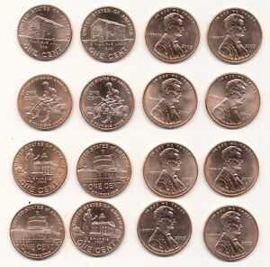 Set-of-All-Eight-2009-P-D-Lincoln-Bicentennial-Cents-From-ANACS-MS65-RED-Rolls