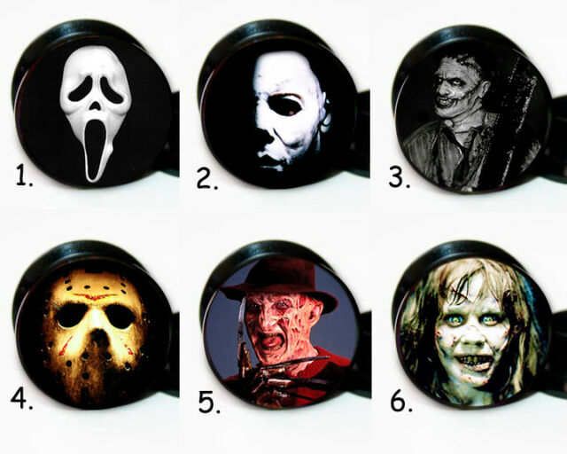 Select 1 pair Horror Movie Characters ear gauges tunnel screw back plugs