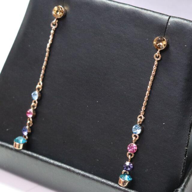 Amethyst Aquamarine Rose Quartz Dangle Drop Earrings 14K Rose Gold Plated 1.75