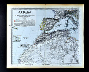 Map Of Spain And North Africa.1892 Stieler Map North Africa Morocco Algeria Spain Italy Sahara