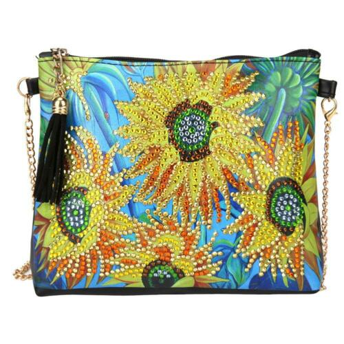 Women Diamond Painting Leather Long Chain Shoulder Bag Craft Handbags DIY Gifts