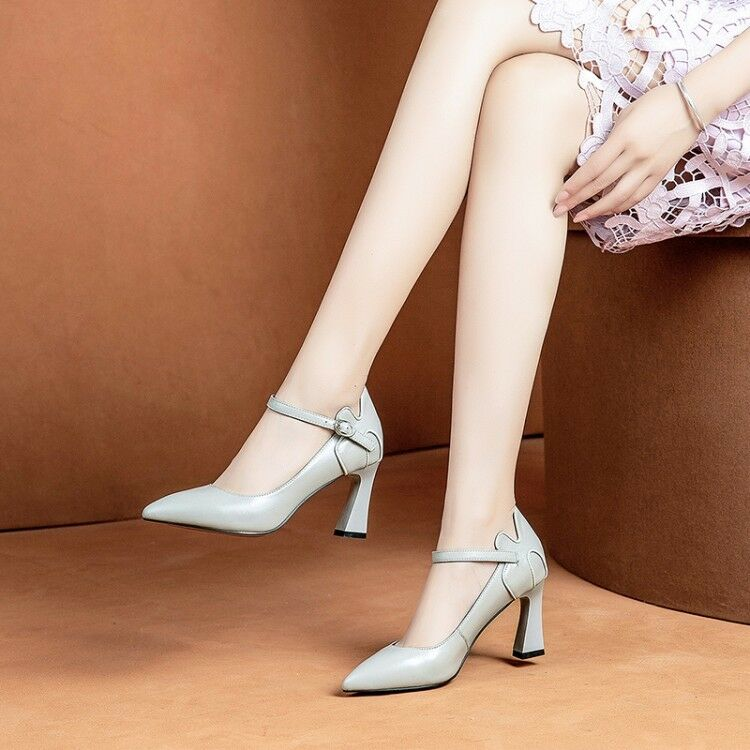 2019 New Single shoes Women Ladies Vogue Pointed Block Heels Ankle Strap shoes p