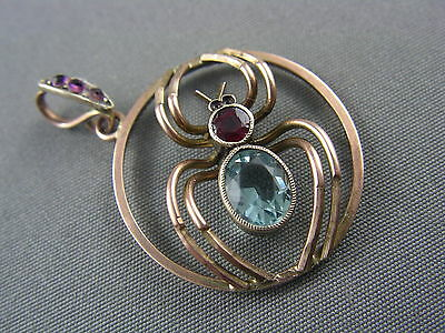RARE! Antique Victorian 9ct Rose Gold Aquamarine Garnet SPIDER LAVALIER Pendant