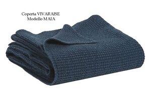 Copriletto Nido D Ape.Dettagli Su Copriletto Plaid Coperta Vivaraise Mod Maia Cotone Nido D Ape Blu Bianco Beige