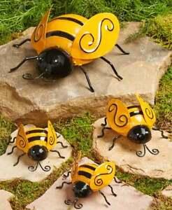 Set-of-4-Metal-BUMBLE-BEES-Garden-Insect-Sculpture-Outdoor-Yard-Art-Wall-Decor