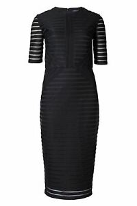 Ex-M-amp-S-Marks-and-Spencer-Black-Self-Stripe-Shift-Dress-Round-Neck-Half-Sleeve