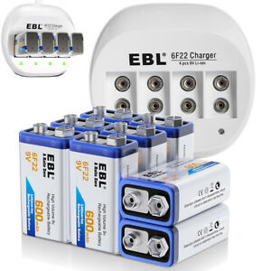 600mAh-9V-Li-ion-Rechargeable-Battery-9-Volt-6F22-Batteries-Charger-For-MIC-Toy
