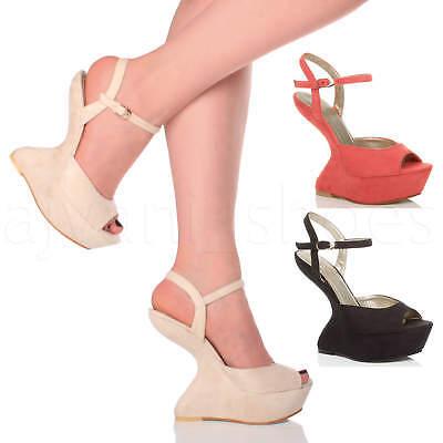 """Womens Ladies Faux Suede 5/"""" High Heel Smart Heels Platform Peep Toes Shoes Size"""