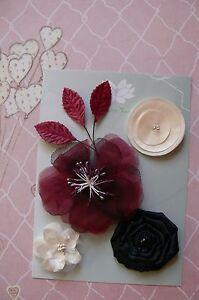 BURGUNDY-IVORY-amp-BLACK-Fabric-Mixed-4-Flowers-35-80mm-across-3-Leaves-Green-Tara