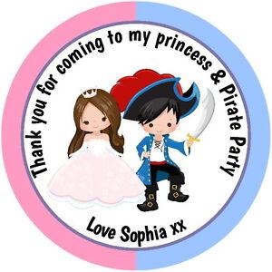 La principessa & Pirate personalizzata Gloss Festa Di Compleanno Borsa, dolce cono Adesivi  </span>