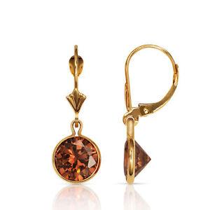 14k Oro Macizo Alejandrita Redondo Engastados Cierre Catalán Pendientes De Gota Shrink-Proof Fine Earrings