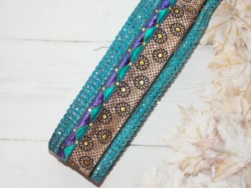 6cm turquoise purple crystal embroidered ribbon BRAID applique trimming xmas
