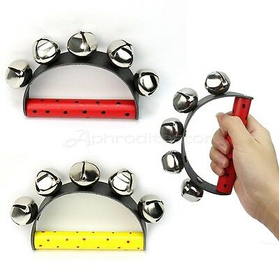 Cute Baby 5 Jingle Bell Wooden Handle Music Tambourine Ring Rattle Toy Education