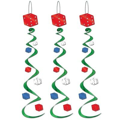 Pack of 3 Casino Dice Whirls Decorations - Las Vegas Casino Party Decoration
