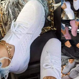 Damen Neu Plateau Sneaker Turnschuhe Sportschuhe Sneaker Schnür Freizeit Schuhe