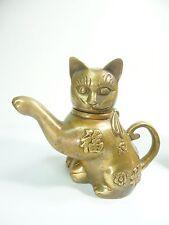 Small  Chinese / Tibetan Buddhism Brass Fu Cat Kettle Teapot  Brass cat figurine