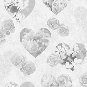 novelty vintage grey hearts floral flower roses wallpaper fine decor