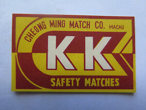 K K SAFETY MATCHES MATCH BOX LABEL c1950s NORMAL SIZE MADE in MACAU