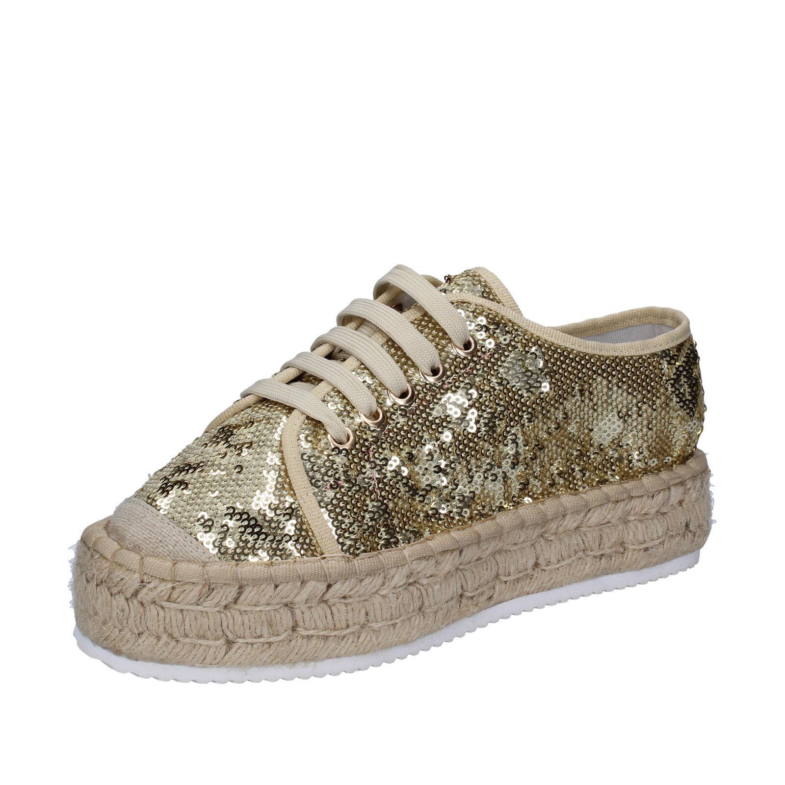 Zapatos señora francesco Milano 41 UE espadrillas platino pailettes bs77-41