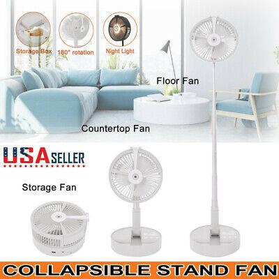 Portable Folding Pedestal Stand Fan USB Rechargeable Telescopic Table Floor Fan