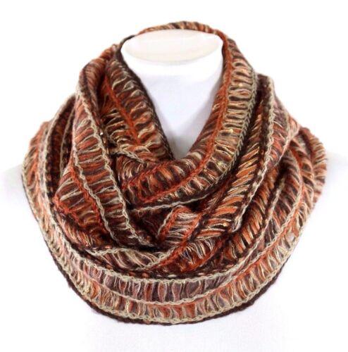 Metallic Gold Brown Bronze Orange Black Soft Knit Infinity Scarf B44