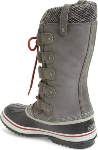 SOREL Joan of Arctic KNIT II Shale GREY Red SUEDE WINTER BOOTS Womens US 9 or 10