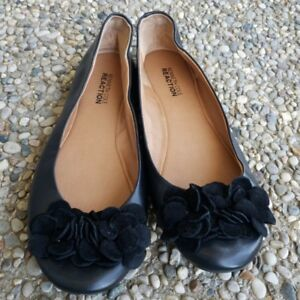 Kenneth-Cole-Reaction-Black-Floral-Leather-Upper-Flats-Size-6-5