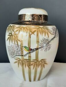 Vintage-Japan-HAND-PAINTED-GINGER-JAR-multi-color-Birds-in-Bamboo-6-034-tall