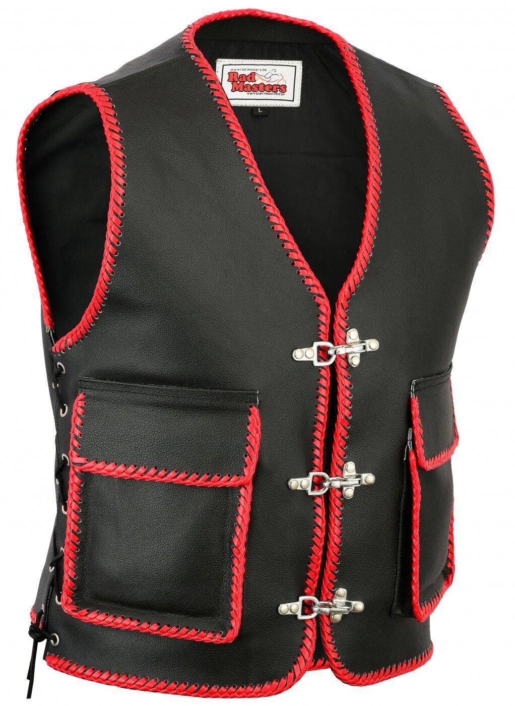 German Wear,Leder Motorrad Kutte Karabiner Lederweste Motorradweste  black red