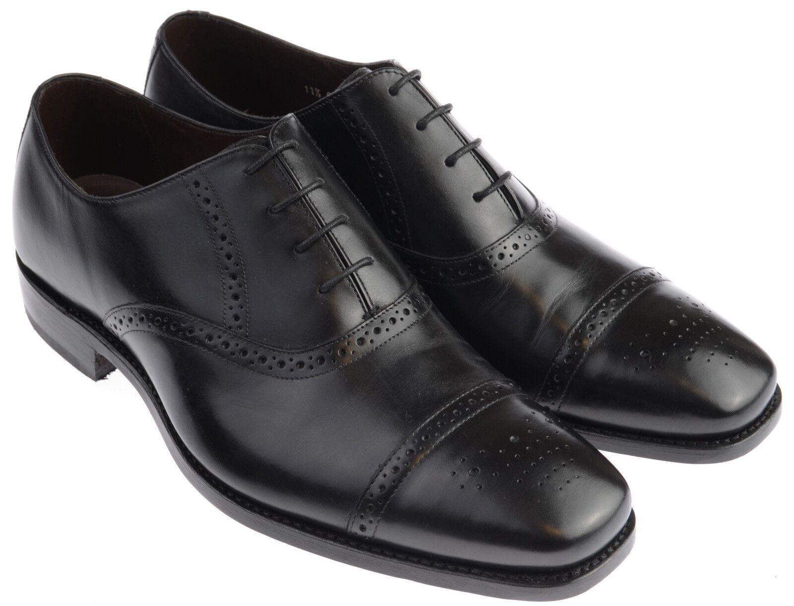 Gentleman's Classic Semi Brogue Barker Flynn Black Calf UK Size 11.5 G Fitting