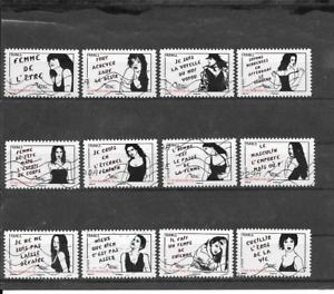 FRANCE-2011-FEMME-DE-L-039-ETRE-MISS-TIC-SERIE-COMPLETE-DE-12-TIMBRES-AUTO-OBLITERES