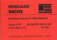 Hercules Supra 4 GP K 50 Ultra 2 LC Sachs Bedienung Anleitung Daten Technik Neu