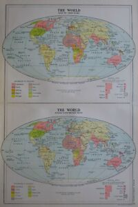 1919-MAP-WORLD-BEFORE-THE-WAR-amp-AFTER-WAR-PEACE-TREATIES-OVERSEA-POSSESSIONS