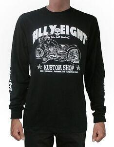 Mens-rockabilly-greaser-psychobilly-biker-Billy-Eight-Kustom-Shop-Longsleeve-T