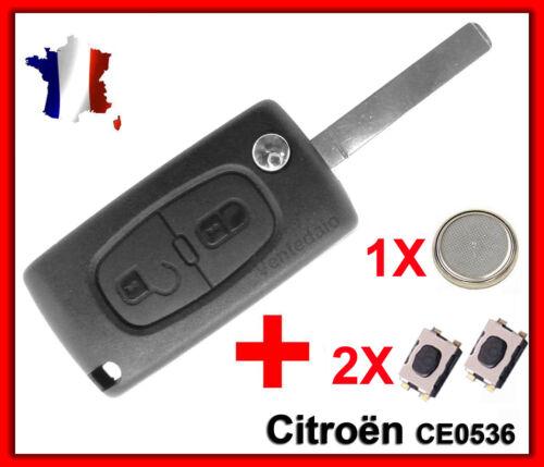 Coque PLIP Clé Pour CITROEN C2//C3//C4//C5//C6 2 BOUTONS 2 Switchs Pile CE0536