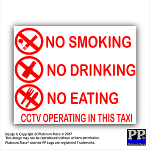 Details about 2x Taxi Warning Sticker-No Smoking,Eating,Drinking-CCTV In  Operation,Warning,RED