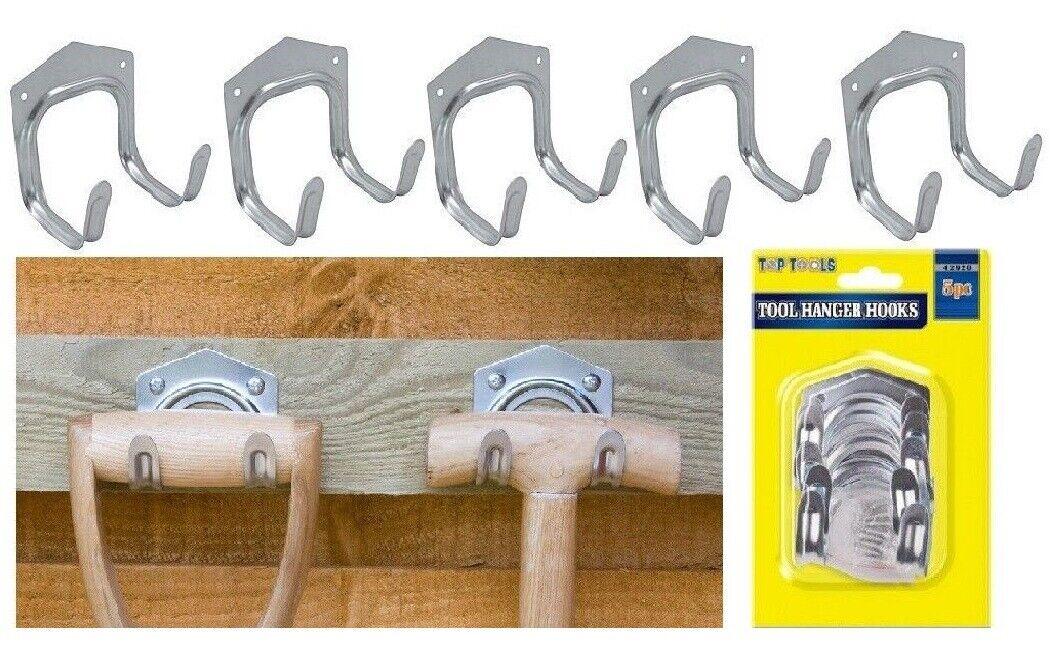 10 x DOUBLE METAL TOOL BRACKET Garden//Garage//Shed Storage Hook Holder//Hanger