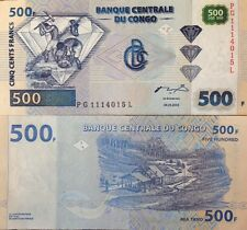 CONGO 2002 500 FRANCS UNCIRCULATED BANKNOTE P-96 DIAMOND MINING FROM USA SELLER
