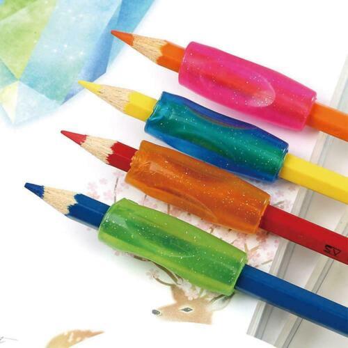 K5V0 4X Bleistift-Griff-Kind-Handschrift-Hilfsmittel-weicher Gummi-Stift-Deckel