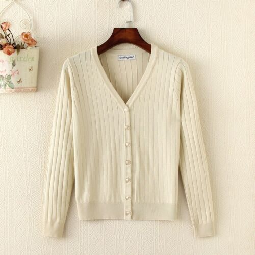 Lady Knitted Sweater Coat Knitwear Outerwear Jacket Cardigan Casual V Neck Solid