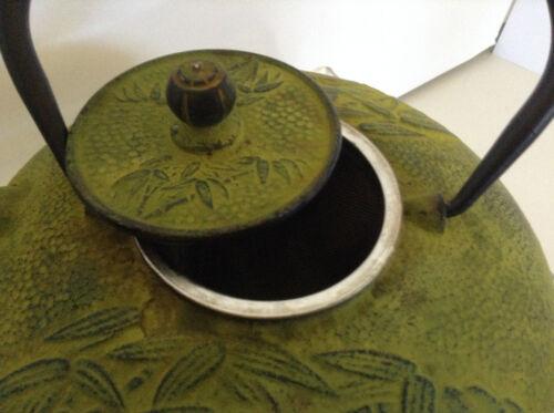 Green Bamboo Japanese Cast Iron Teapot Black Enamel inside w// Infuser 24 fl oz