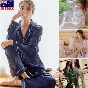 3a9b374f1c00 2Pcs Women Silk Satin Sleepwear Long Sleeve Pajamas Pj s Set Home ...