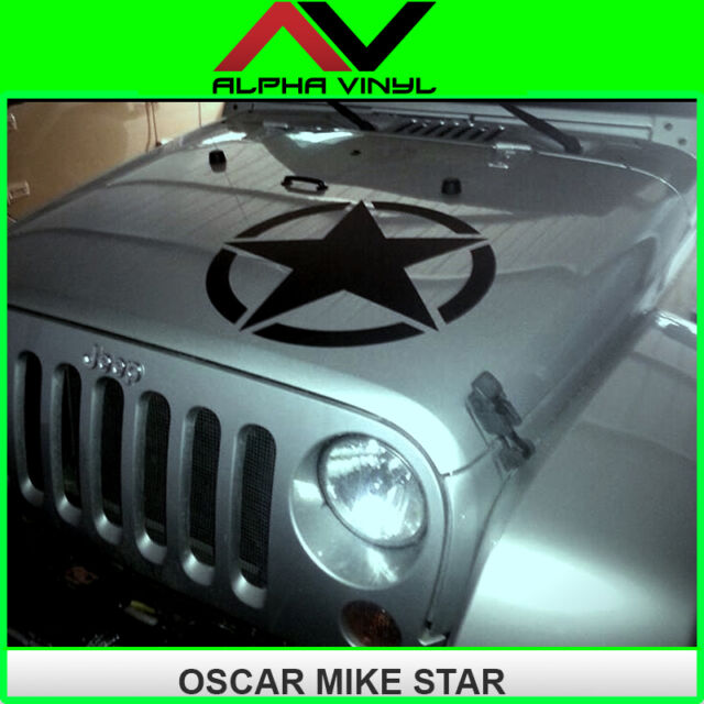 Hood decal oscar mike star with install kit jeep wrangler JK, TJ, YJ universal
