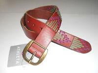 Athleta Una Belt Medium Brown Leather Embroidery Jean Basic Belt