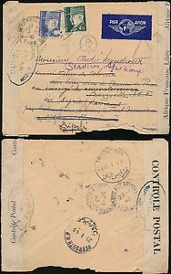 FRANCE 1943 AIRMAIL to AFRICA CONGO REDIRECTED BEYROUTH LEVANT FORWARDED LIBYA