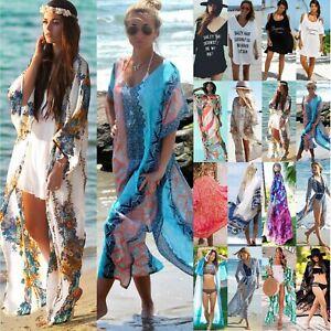 more photos fd7db 4354c Details zu Damen Kimono Cardigan Bikini Cover Up Kaftan Strand Tunika Lang  Kleid Maxikleid