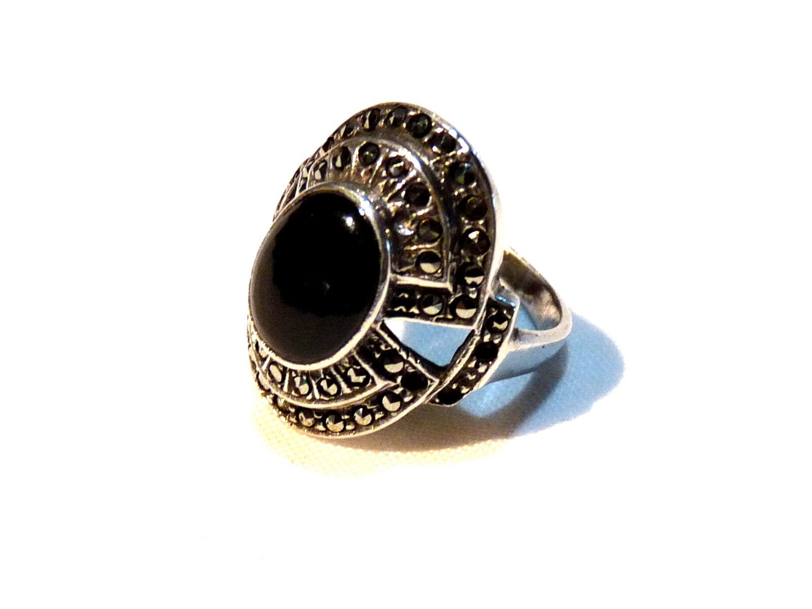 Bijou silver 925 bague art déco onyx et marcassites size 56 ring