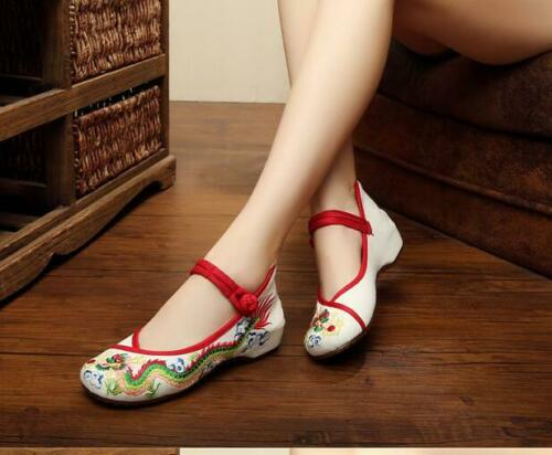 Details about  /Womens Summer Retro Round Toe Flats Pump Buckle Tradition Embroidered Shoes Hot
