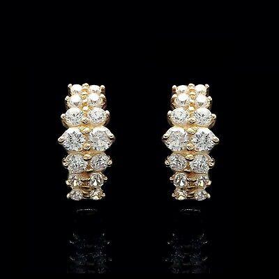 14K Solid Yellow Gold Earrings 1.00ct Created Diamond  Huggie Hoop
